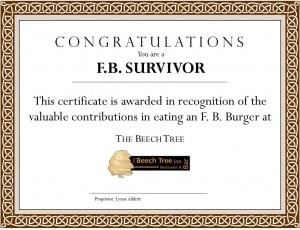 Beech Tree- Certificate for F.B. Burger- March 2012